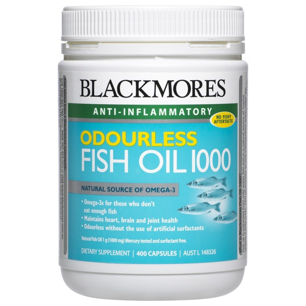 Blackmores odourless fish oil 1000 400 capsules online for Fish oil pills