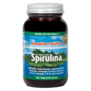 Green Nutritionals Hawaiian Pacifica Spirulina - 100 Tablets